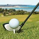 ein Golfschläger, der ganz leicht den Golfball berührt, mit schöner Natur im Hintergrund